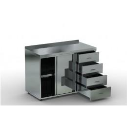 Каркас: нерж. сталь. aisi 430, двери купе, 4 выдвижных ящика, борт