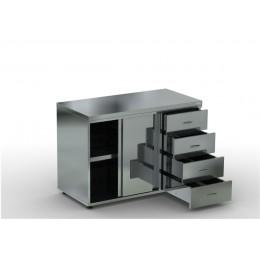 Каркас: нерж. сталь. aisi 430, двери купе, 4 выдвижных ящика